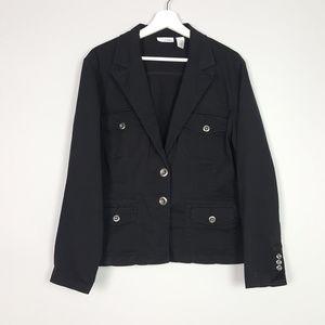 Chico's Platinum Black Blazer Jacket Size 2 or L